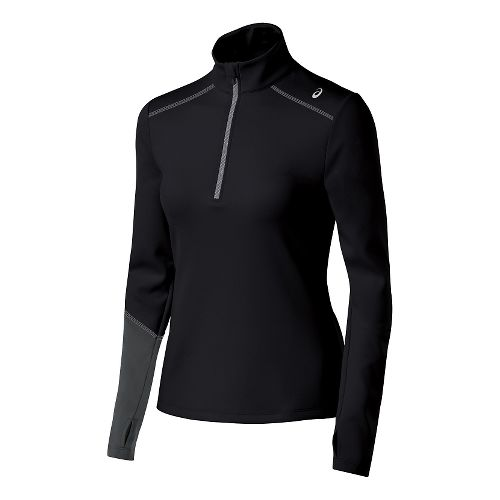 Womens ASICS Thermal XP Long Sleeve Half Zip Technical Tops - Black/Dark Grey XL