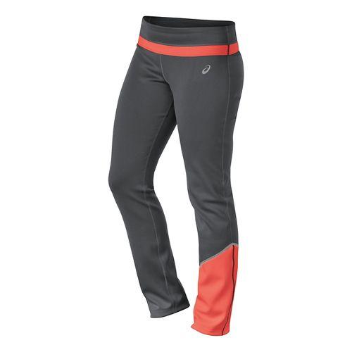 Womens ASICS Thermal XP Slim Full Length Pants - Dark Grey/Coral M