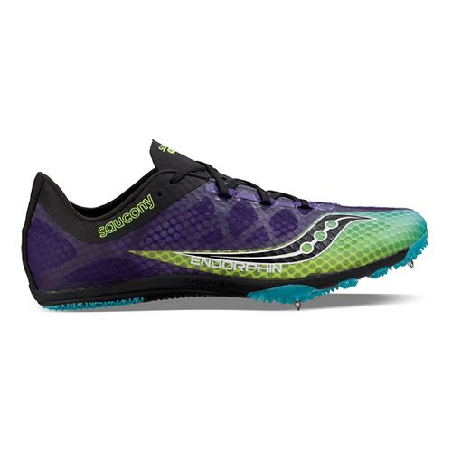 Mens Saucony Endorphin Track and Field Shoe - Black/Purple 12.5