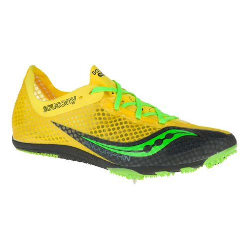 Mens Saucony Endorphin Track and Field Shoe - Red/Citron 9.5