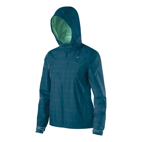 Womens ASICS Storm Shelter Warm Up Unhooded Jackets - Mosaic Blue L