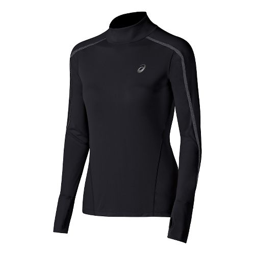 Womens ASICS Lite-Show Neck Long Sleeve Half Zip Technical Tops - Performance Black XL