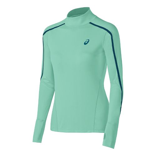 Womens ASICS Lite-Show Neck Long Sleeve Half Zip Technical Tops - Aqua Mint M