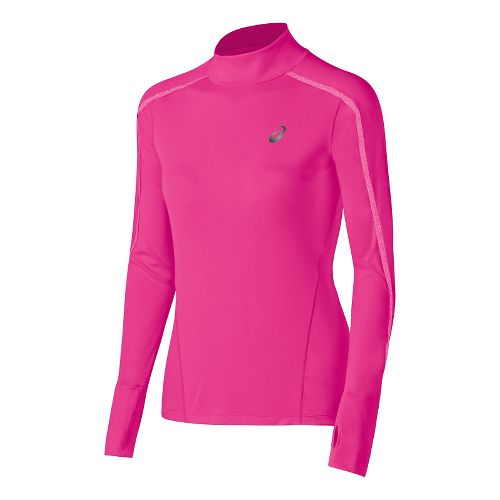 Womens ASICS Lite-Show Neck Long Sleeve Half Zip Technical Tops - Pink Glow M