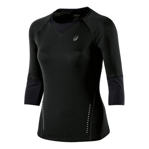 Womens ASICS 3/4 Sleeve Top Long Sleeve No Zip Technical Tops - Performance Black XL ...