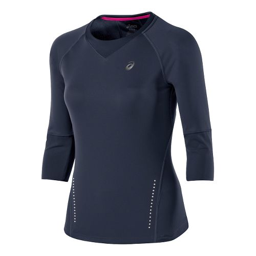 Womens ASICS 3/4 Sleeve Top Long Sleeve No Zip Technical Tops - Dark Cobalt Heather ...