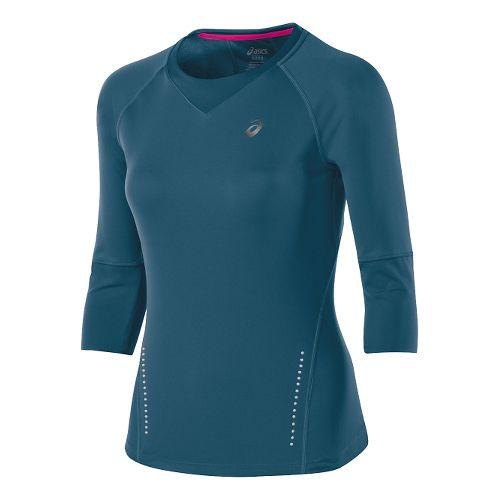 Womens ASICS 3/4 Sleeve Top Long Sleeve No Zip Technical Tops - Mosaic Blue M ...