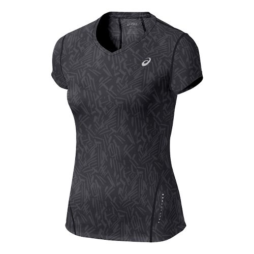 Womens ASICS Allover Graphic Short Sleeve Technical Tops - Black Palm XS