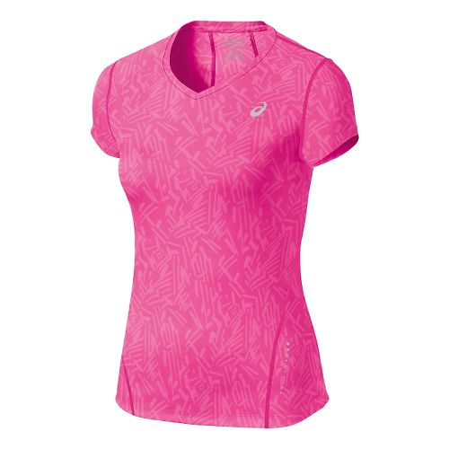 Womens ASICS Allover Graphic Short Sleeve Technical Tops - Pink Glow Palm XL