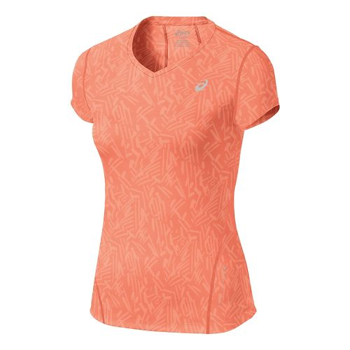 Womens ASICS Allover Graphic Short Sleeve Technical Tops - Living Coral Palm S