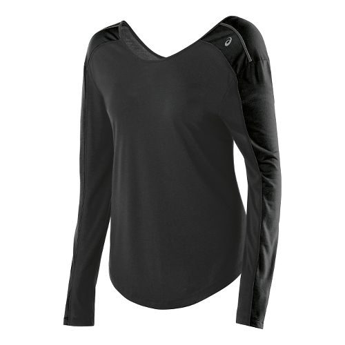 Womens ASICS Relaxed Long Sleeve No Zip Technical Tops - Black Heather/Black XL