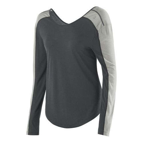 Womens ASICS Relaxed Long Sleeve No Zip Technical Tops - Dark Grey/Light Grey XS