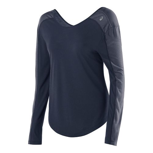 Womens ASICS Relaxed Long Sleeve No Zip Technical Tops - Dark Cobalt/Heather XL