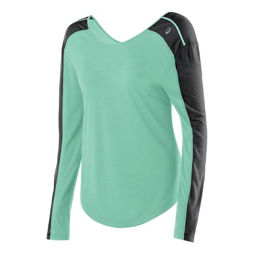 Womens ASICS Relaxed Long Sleeve No Zip Technical Tops - Aqua Mint/Heather S