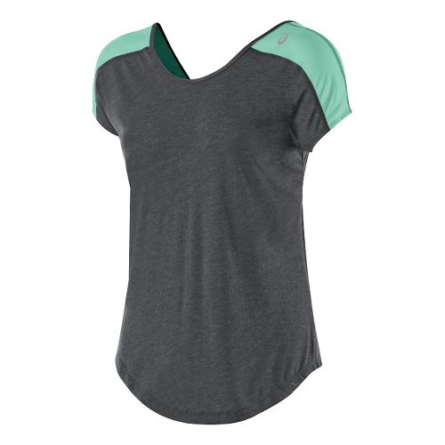 Womens ASICS Relaxed Short Sleeve Technical Tops - Heather Grey/Aqua XS