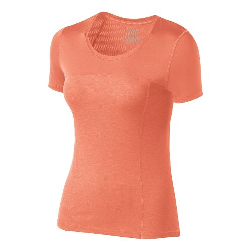 Womens ASICS PR Lyte Short Sleeve Technical Tops - Living Coral Heather S