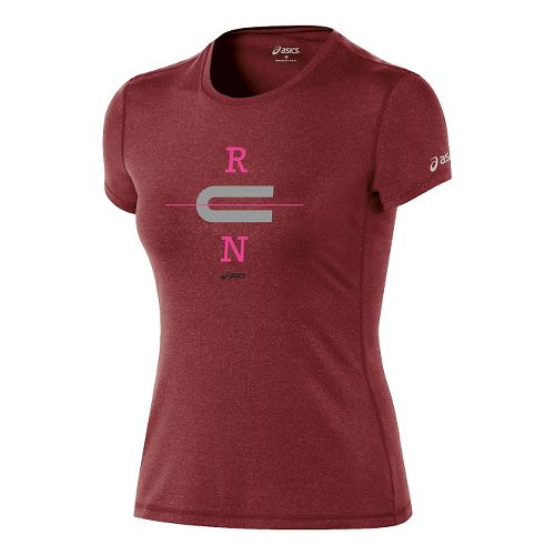 Womens ASICS Run Tech Tee Short Sleeve Technical Tops - Deep Ruby/Frost S
