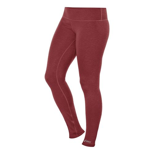 Womens ASICS PR Full Length Tights - Deep Ruby Heather XS-R