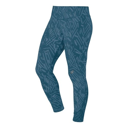 Womens ASICS 7/8 Graphic Full Length Tights - Mosaic Blue Palm M