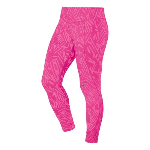 Womens ASICS 7/8 Graphic Full Length Tights - Pink Glow Palm XL