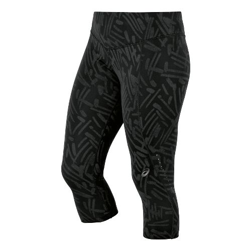 Womens ASICS Graphic Knee Capri Tights - Black Palm S