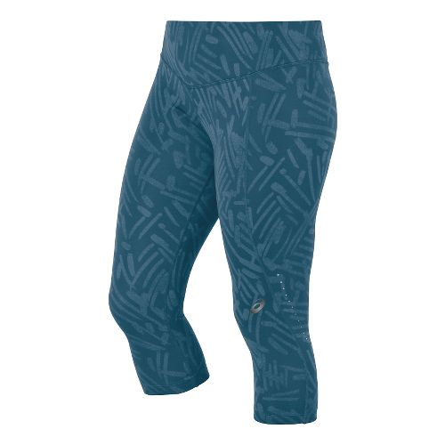 Womens ASICS Graphic Knee Capri Tights - Mosaic Blue Palm S