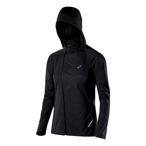 Womens ASICS Fuji trail Softshell Warm Up Hooded Jackets - Performance Black L