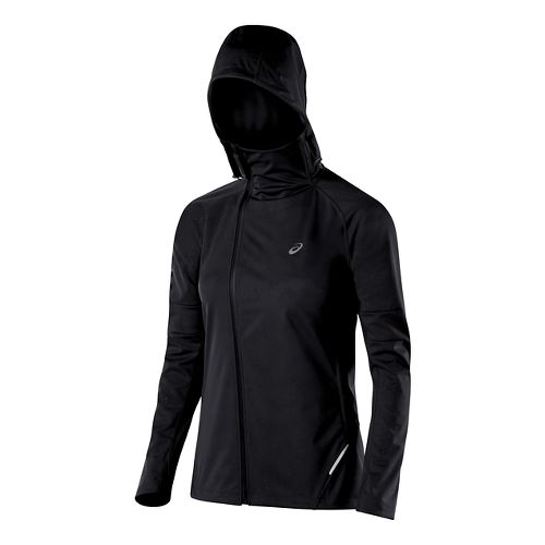 Womens ASICS Fuji trail Softshell Warm Up Hooded Jackets - Performance Black XL