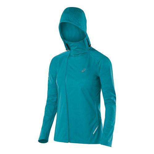 Womens ASICS Fuji trail Softshell Warm Up Hooded Jackets - Turkish Sea S