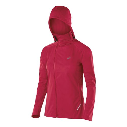 Womens ASICS Fuji trail Softshell Warm Up Hooded Jackets - Wild Raspberry XL