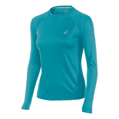 Womens ASICS Fuji trail Baselayer Long Sleeve No Zip Technical Tops - Turkish Sea XL ...