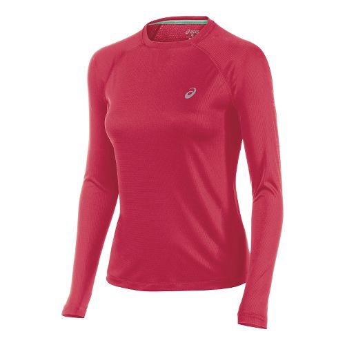Womens ASICS Fuji trail Baselayer Long Sleeve No Zip Technical Tops - Wild Raspberry XS ...