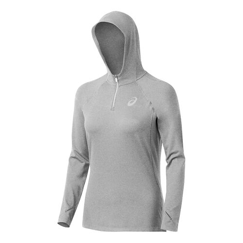 Womens ASICS Fuji trail 1/2 Zip Long Sleeve Hooded Technical Tops - Heather Grey L ...