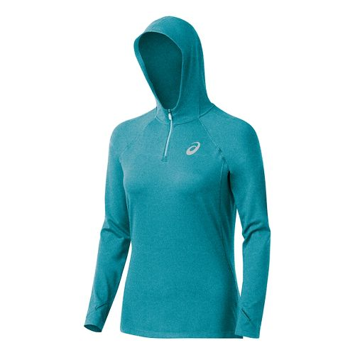 Womens ASICS Fuji trail 1/2 Zip Long Sleeve Hooded Technical Tops - Turkish Sea Heather ...