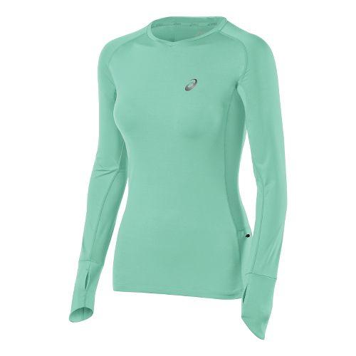 Womens ASICS Fuji trail Top Long Sleeve No Zip Technical Tops - Aqua Mint L ...