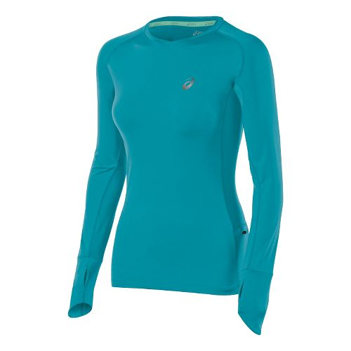 Womens ASICS Fuji trail Top Long Sleeve No Zip Technical Tops - Turkish Sea L ...