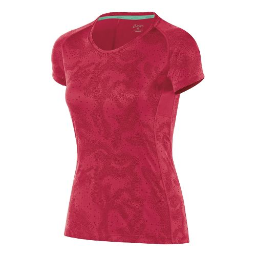 Womens ASICS Fuji trail Graphic Short Sleeve Technical Tops - Wild Raspberry Map L