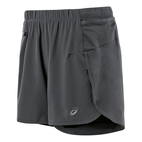 Womens ASICS Fuji trail 2 in 1 Shorts - Dark Grey L