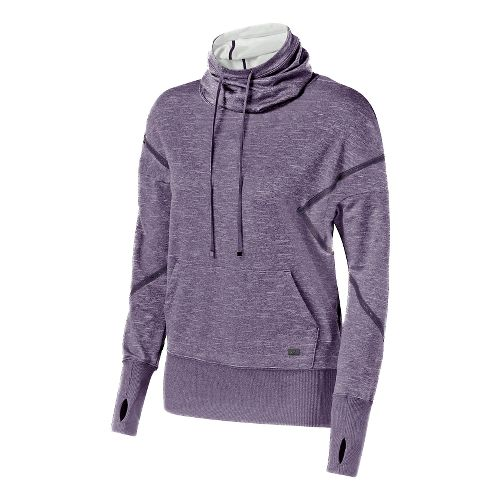 Womens ASICS Fit-Sana Long Sleeve Hooded Technical Tops - Blackberry Cordial S