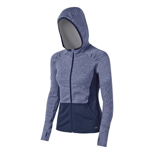 Womens ASICS Fit-Sana Zip Warm Up Hooded Jackets - Indigo Blue XL