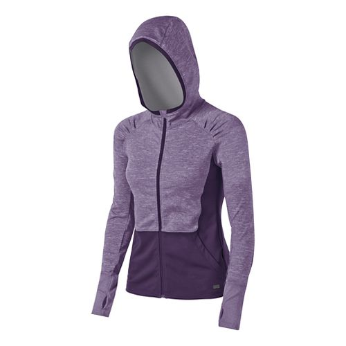 Womens ASICS Fit-Sana Zip Warm Up Hooded Jackets - Blackberry Cordial L