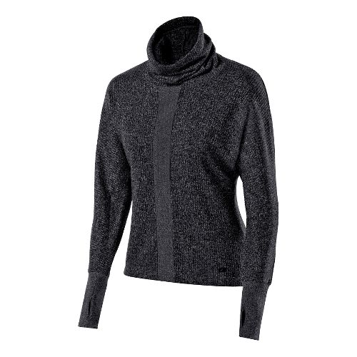 Womens ASICS Mock Neck Pullover Long Sleeve No Zip Technical Tops - Performance Black M ...