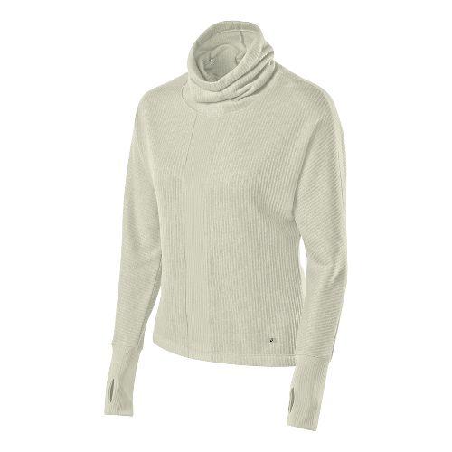 Womens ASICS Mock Neck Pullover Long Sleeve No Zip Technical Tops - Vanilla Ice L ...