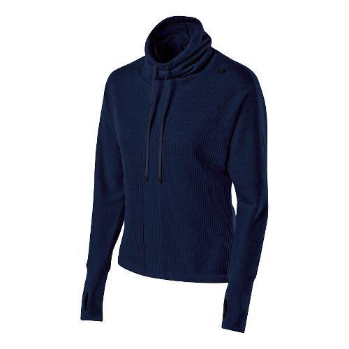 Womens ASICS Mock Neck Pullover Long Sleeve No Zip Technical Tops - Indigo Blue XS ...