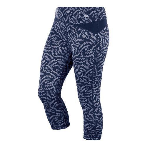 Womens ASICS Fit-Sana Reversible Capri Tights - Indigo Blue Print M