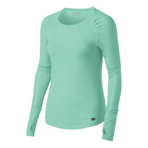 Womens ASICS Fit-Sana Slimcut Long Sleeve No Zip Technical Tops - Aqua Mint XL