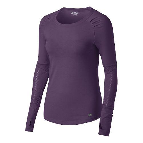 Womens ASICS Fit-Sana Slimcut Long Sleeve No Zip Technical Tops - Blackberry Cordial XL