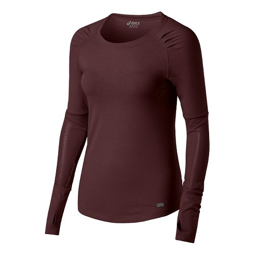 Womens ASICS Fit-Sana Slimcut Long Sleeve No Zip Technical Tops - Port Royale S