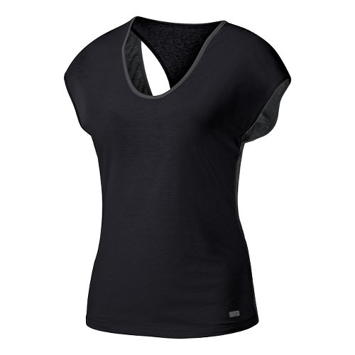Womens ASICS Fit-Sana Reversible Short Sleeve Technical Tops - Dark Grey/Black L