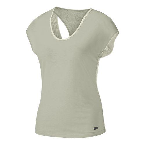 Womens ASICS Fit-Sana Reversible Short Sleeve Technical Tops - Vanilla Ice/Grey M